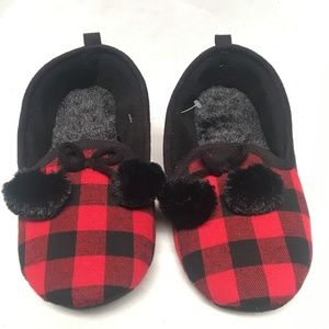 Shoes - 2 for $12 Checker Pom Pomp Red/Black Slipper